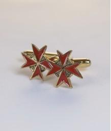 Butoni masonici - Cruce cavaler (rosu, var. 2)