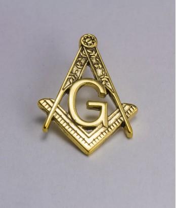 Pin masonic - Echer si compas litera G (var. 5)