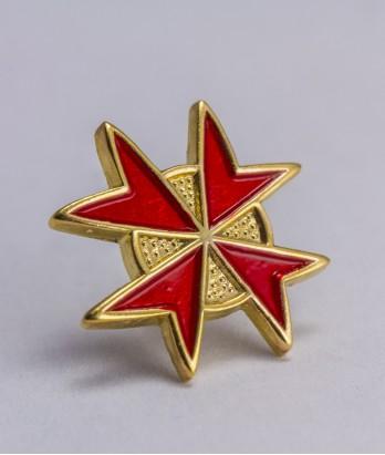 Pin masonic - Cruce cavaler (var. 5, rosie)