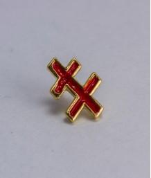 Pin masonic - Cruce dubla var. 1 (Lorena - rosie, Grad 33)