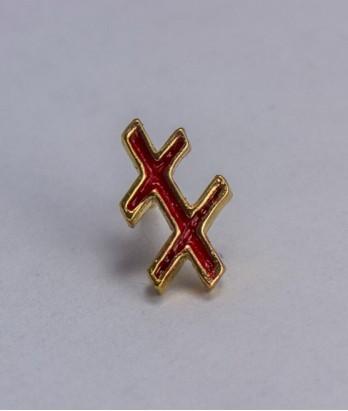 Pin masonic - Cruce dubla var. 2 (Lorena - rosie, Grad 33)