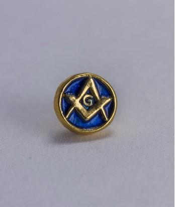 Pin masonic - Echer si compas (var. 1, rotund, albastru)