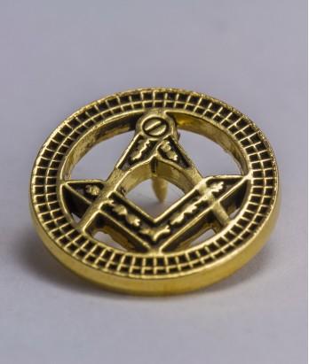 Pin masonic - Echer si compas (var. 3, rotund)