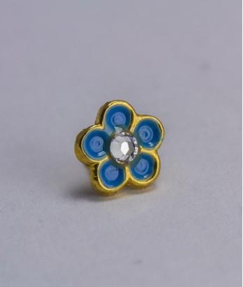 Pin masonic - Floare de nu ma uita (cristal Swarovski, var. 1)