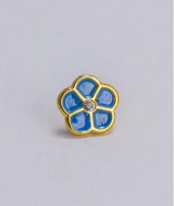 Pin masonic - Floare de nu ma uita (cristal Swarovski, var. 2)