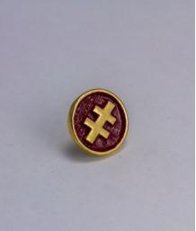 Pin masonic rotund - Cruce dubla (Lorena - rosie, Grad 33)