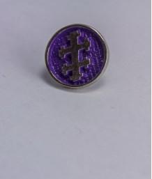 Pin masonic rotund - Cruce dubla (mov, Grad 33)